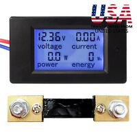DC 6.5~100V 20-50-100A LCD Digital Display Volt Amp Power Watt Meter Combo Panel