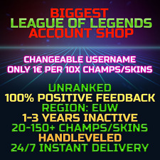 League of Legends Account LOL EUW Handlevel Unranked 30 All Champs Smurf BE Skin