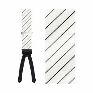 $88 New TRAFALGAR White Black Formal Richmond STRIPED SUSPENDERS BRACES