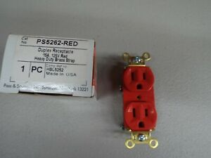 Pass & Seymour PS5262-RED Duplex Receptacle 15A, 125V (Red)