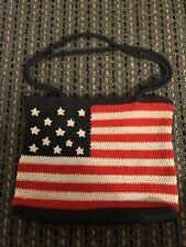 American Flag Crochet Bag Shoulder Purse Red White & Blue