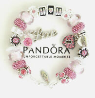 Authentic Pandora  Bracelet Silver MOM Pink European Charms MOTHER DAY New