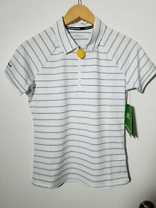 1 NWT SKECHERS GO GOLF WOMEN'S POLO, SIZE: SMALL, COLOR:WHITE/NAVY STRIPED(J112)