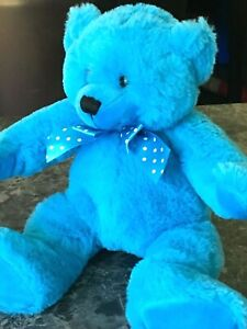 30cm Ultra Soft Bright Blue Elka Australia Teddy Bear Blue Pokadot Bow Plush Toy