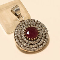 Natural Burmese Red Ruby Solitaire Pendant 925 Sterling Silver Turkish Jewelry