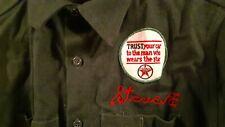 Vtg Emroidered Gas Station Service Texaco Tire Center Heavy Twill Shirt 1950s M