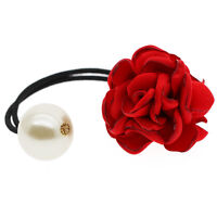 Red Rose Large Flower Pearl Girl Charms Elastic Hair Band Wrap Accessories HA259