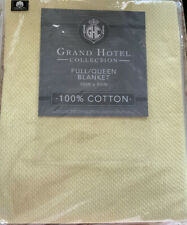 """New Grand Hotel Collection Full/Queen Pearl Blue 100% Cotton 90"""" X 90"""" Blanket"""