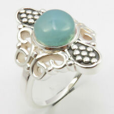 Solid Sterling Silver AQUA CHALCEDONY Ring Sz 8 Face Width 23 mm FREE SHIPPING