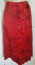 M&S PER UNA RED MIX FLORAL WRAP STYLE SATIN PLEATED MIDI SKIRT SIZE 14  BNWT