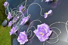 wedding car decoration, ribbon, bows, prom limousine decoration , purple petals
