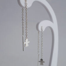925 Sterling Silver Threader Stud Earrings Dangle Drop Thread Chain Girls Womens