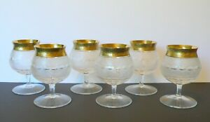 "Set of 6 Czech Moser Crystal ""SPLENDID"" 24K Gold Brandy Snifters Glasses"