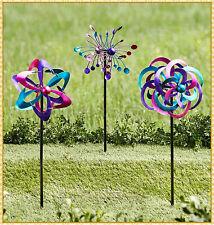 Set of 3 Bright Metallic Metal Wind Spinner Stake Outdoor Yard Garden Home Decor
