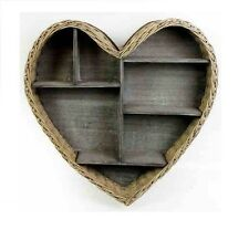 Wicker Wooden Heart Shape Rustic Wall Hanging Shelf Display Unit Kitchen Storage