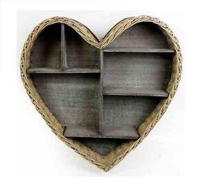 Wicker Wooden Heart Shape Rustic Wall Hanging Shelf Display Unit Kitchen Storage