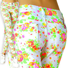 Women's Jeans Hipster Low-Rise Trousers Skinny White Floral Pattern