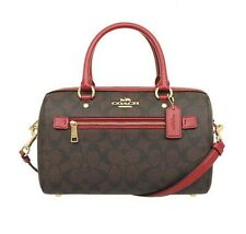 Coach 83607 Rowan Satchel Signature Canvas Handbag Brown 1941 Red