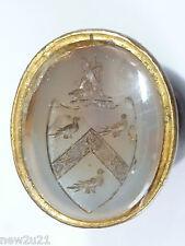 Victorian Intaglio Seal Armorial Heraldic Family Crest Wild Boar Birds Shield