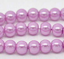 8mm ORCHID LAVENDER PURPLE Round Glass Pearls 50 beads bgl0800