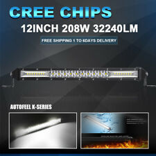 "Led Work Light Bar 12"" Inch CREE 208W Combo Beam Offroad Fog Truck For JEEP FORD"