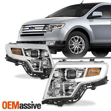 For Ford Edge 2007-2010 LED Light Bar DRL Projector Headlights - Chrome Housing
