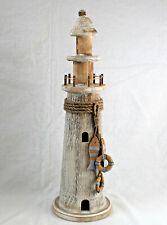 Deko Leuchtturm Holz 48cm Treibholz Antik-look Beige Hellblau