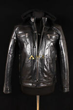 Men's Leather Hooded Biker Coats & Jackets