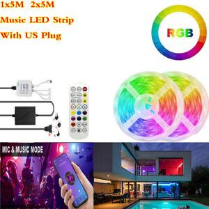 5M 10M RGB Bluetooth APP Control LED Strip lights lamp decor Tape Voice Music