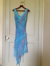 YVE London Silk Dress in Blue and Pink with Beading Detail and Scarf Size 10