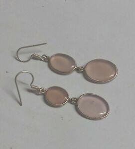 Solid 925 Sterling Silver Hook Earring Natural Pink Onyx Gemstone Hook Earring