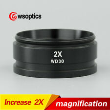 """2X Auxiliary Objective Lens Barlow Lens for Stereo Microscope 1-7/8"""" 48mm WD30mm"""