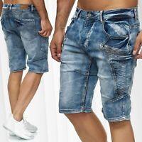 Pantalon Jeans cargo pour hommes Leo Gutti Bermuda Shorts Biker Regular 3/4 Lavé
