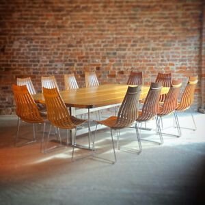 Mid Century Brazilian Rosewood Conference Dining Table & 12 Scandia Chairs