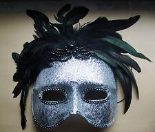 Maske Augenmaske silber schwarz Federschmuck venezianischer Stil Fasching