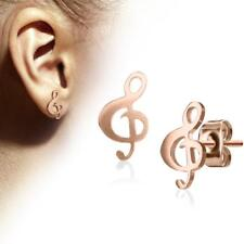 Pair Of 316L Surgical Steel Rose Gold Hand Polished Music Clef Stud Earrings