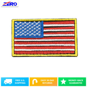 """Color USA Flag Patch Embroid 3.4""""x 2.0"""" Hook Fastener United States America"""