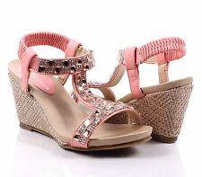 Pink Wedges Sandals Ankle Strap Platform Womens High Heels Shoes Size 9