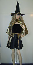 Ladies Halloween Sexy Cute Witch Metallic Gold Fancy Dress Costume M 10-12 USED