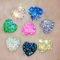 20Pcs Heart Flat Back Resin Rhinestones Craft Glitter Cabochon Gems 12mm