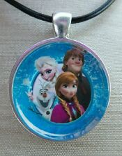 ** FROZEN BUDDIES ** Disney's Frozen. Glass Pendant with Leather Necklace