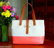 FOSSIL Coated Canvas Shopper Tote in Natural & Hot Coral  NWT $148 + tax