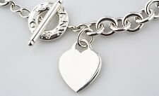 "Tiffany & Co. Sterling Silver Blank Heart Tag Toggle Necklace 15"" Retails $475"