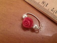 Navel Belly Ring 14k Yellow Gold Filled 20 ga Rose & made with Swarovski Pearls