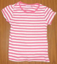 Cherokee girls' white/coral striped  100% cotton T-shirt, 3-4 years