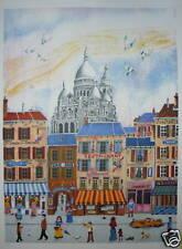 DELCROY Lithographie signée numérotée art naïf Sacré Coeur Paris Montamartre