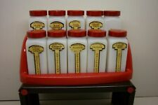 VINTAGE GRIFFITH MILK GLASS SPICE JAR SET OF 10 WITH RED CAPS & RED RACK