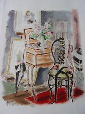 """DIGNIMONT / LITHOGRAPHIE signée """" La table à ouvrage """"  38x28 1946"""