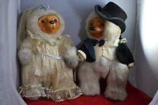 Vintage Robert Raikes Bears Plush Bride & Groom w/Wood Faces & Feet 301/15000