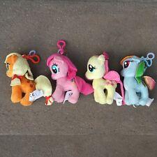 Lot of 4 My Little Pony Plush Keychains Rainbow Dash Applejack Fluttershy Pinkie